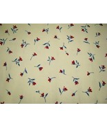 Hatema Pamy Red Flowers Blue Deco Cotton Fabric  3 yd - $13.95
