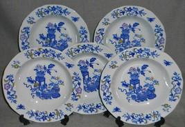Set (5) Copeland Spode MULTICOLOR BLUE BOWPOT PATTERN Soup Bowls ENGLAND - $69.29