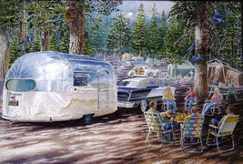 """Happy Hour"" Airstream Campsite  Jack Schmitt Retro Automotive Metal Sign - $29.95"