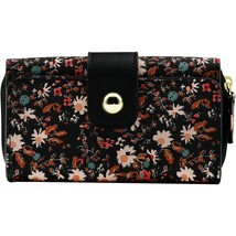 George Ladies Flap Indexer Wallet Black Floral Design Gold Accents  NEW - €11,71 EUR
