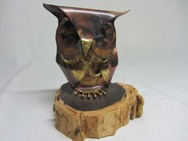 Metal Copper Patina Vtg Owl Figurine on Wood Slice Brutalist Rustic Art signed image 6