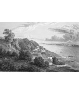 FRANCE Garonne River Lormont near Bordeaux - 1821 Engraving Print Cpt. B... - $16.20