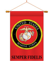 Marine Corps - Applique Decorative Wood Dowel with String House Flag Set... - $53.97