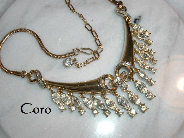 Primary image for Vintage Coro Corocraft Necklace Gold Tone Marquise Baguette Crystal Rhinestone