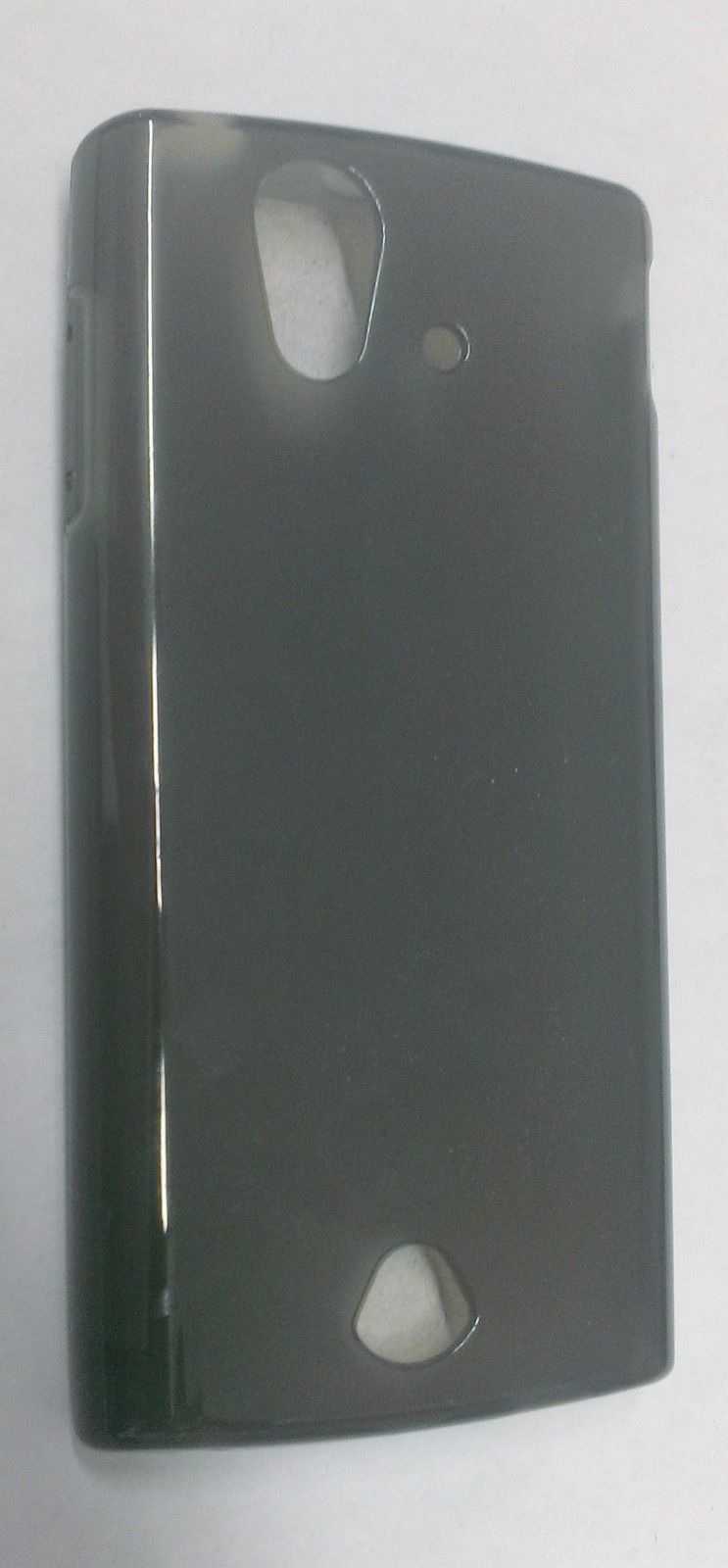 New Clear TPU Gel Skin Cover Soft Case for Sony Xperia Ray ST18A - Smoke Black image 2