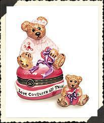 """Boyds Bears-LeBearmoge Porcelain Box """"Bailey...Hearts Desire"""" #392009- 2E- NIB"""