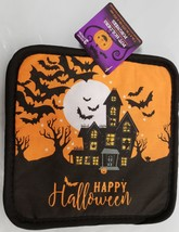 Printed Kitchen Potholder, HALLOWEEN HAUNTED HOUSE & BATS, black back, GR - $7.91