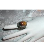 Vintage Jasper Silver Filigree Ring  Ancient March Birthstone - $69.95