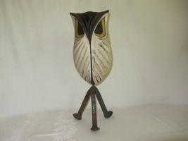 Rustic Carved Wood Owl Figurine Railroad Spike Nail Legs Vtg Art Sculptu... - $118.79