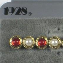 1928 Brooch Goldtone Red Rhinestones Faux Pearl Signed Pin Vintage Card ... - $29.69