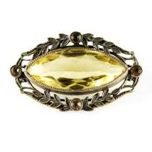 Victorian Brass Brooch W/Yellow Glass Faceted Stone - $29.00