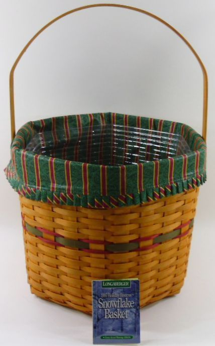 Longaberger Hostess Snowflake Basket Combo Large W Imperial Stripe Liner & Prot