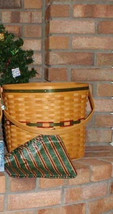Longaberger Hostess Snowflake Basket Combo Large W Imperial Stripe Liner & Prot image 2