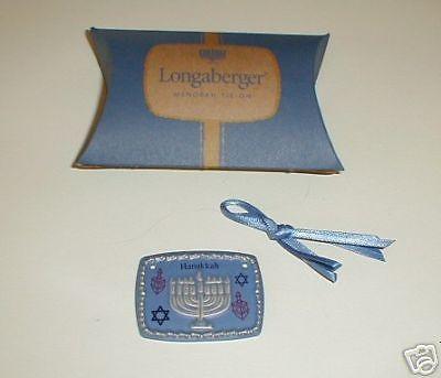 Longaberger  Pottery Menorah Happy Hanukkah Basket Tie On New In Box Authentic