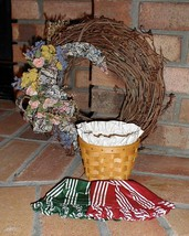 Longaberger Oregano Booking Basket Combo With Protector Red Stripe Liner... - $32.62