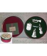 Longaberger Christmas Pewter Violin Trumpet Drum Bell Ornaments New In D... - $16.78
