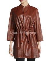 Waist Tie Up Women Leather Coat