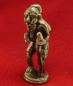 POO CHUCHOK BUDDHA ENEMY THAI MINI BRASS AMULET LUCKY MONEY RICH MERCHANT CHARM image 3