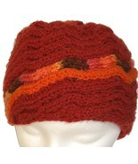 Red Hand Knit Hat with Orange Spiral - $28.50