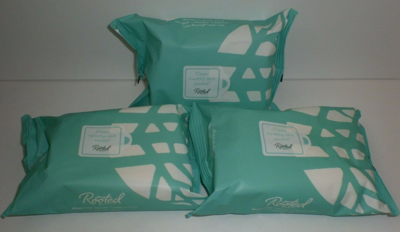 Rooted Beauty Sensitive Skin Facial Cleansing Cleaning Towelettes 30 Count x3 Pk