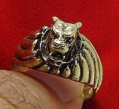 TIGER BRASS MEN RING THAI LIFE PROTECTION AMULET THAILAND LUCKY CHARM NICE GIFT image 1