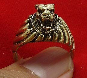 TIGER BRASS MEN RING THAI LIFE PROTECTION AMULET THAILAND LUCKY CHARM NICE GIFT image 4