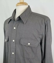 CHAPS Casual Dress Shirt Men Sz L Button Front L/S Gray White Check 100% Cotton - $17.90