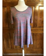 LuLaRoe Pink & Blue Print Perfect T Tunic Top XS - $14.85