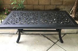 Outdoor Coffee Table Rectangular Patio Cast Aluminum Furniture Desert Bronze image 3