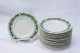 "Gibson Xmas Greeting Holly Saucers or Bread Plates 6.125"" Lot of 12 - $39.19"