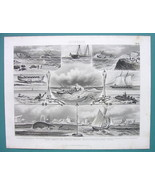 NAVY & Marine Sea Rescue Whale Herring Fishing  - 1870s Superb Print - $33.66