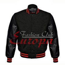 American Unisex Black Real Leather Sleeves Letterman College Varsity Woo... - $86.13+