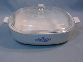 Vintage Corning Ware Pyroceram Blue Cornflower 1 Quart Casserole with Glass Lid - $23.99