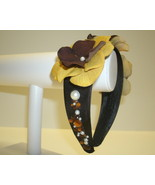 Black Headband With Golden Yellow And Brown Flowers - $10.00