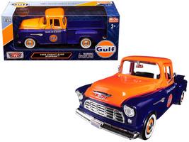 """1955 Chevrolet 5100 Stepside Pickup Truck \""""Gulf\"""" Dark Blue and Orange 1/24 Die - $36.03"""
