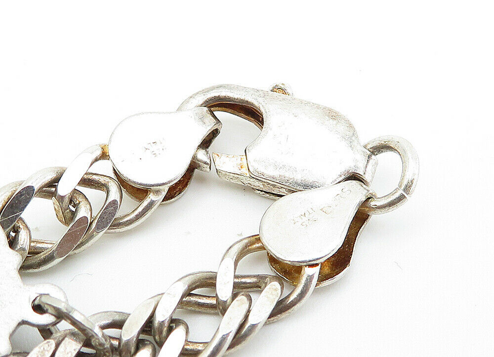925 Sterling Silver - Vintage Assorted Charm Curb Link Chain Bracelet - B6015 image 4