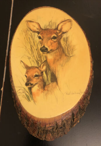 Primary image for Wooden Bark Wall Plaque Deers