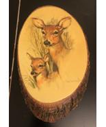 Wooden Bark Wall Plaque Deers - $10.89