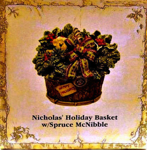"Boyds Treasure Box""Nicholas' Holiday Basket w/Spruce McNibble""#392138- NIB- Ret"