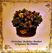 "Boyds Treasure Box""Nicholas' Holiday Basket w/Spruce McNibble""#392138- NIB- Ret image 2"