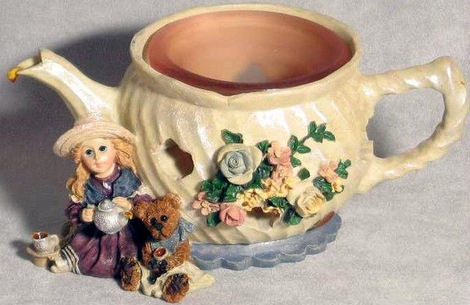 "Boyds Dollstone Votive ""Whitney w/Wilson..Tea & Candle""#27958*NEW*1999*Retired"