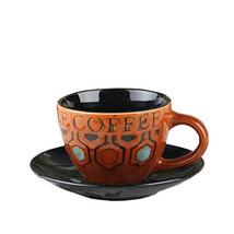 [BRICK-RED] Vintage Style Coffee Cup Cafe Coffee Mug With A Plate 250ML