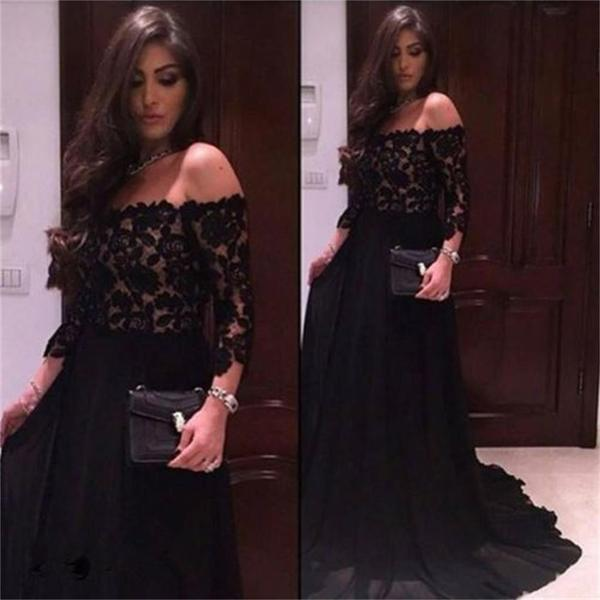 Black chiffon top lace off should straight neck long sleeves party occasion prom dress  pd0234