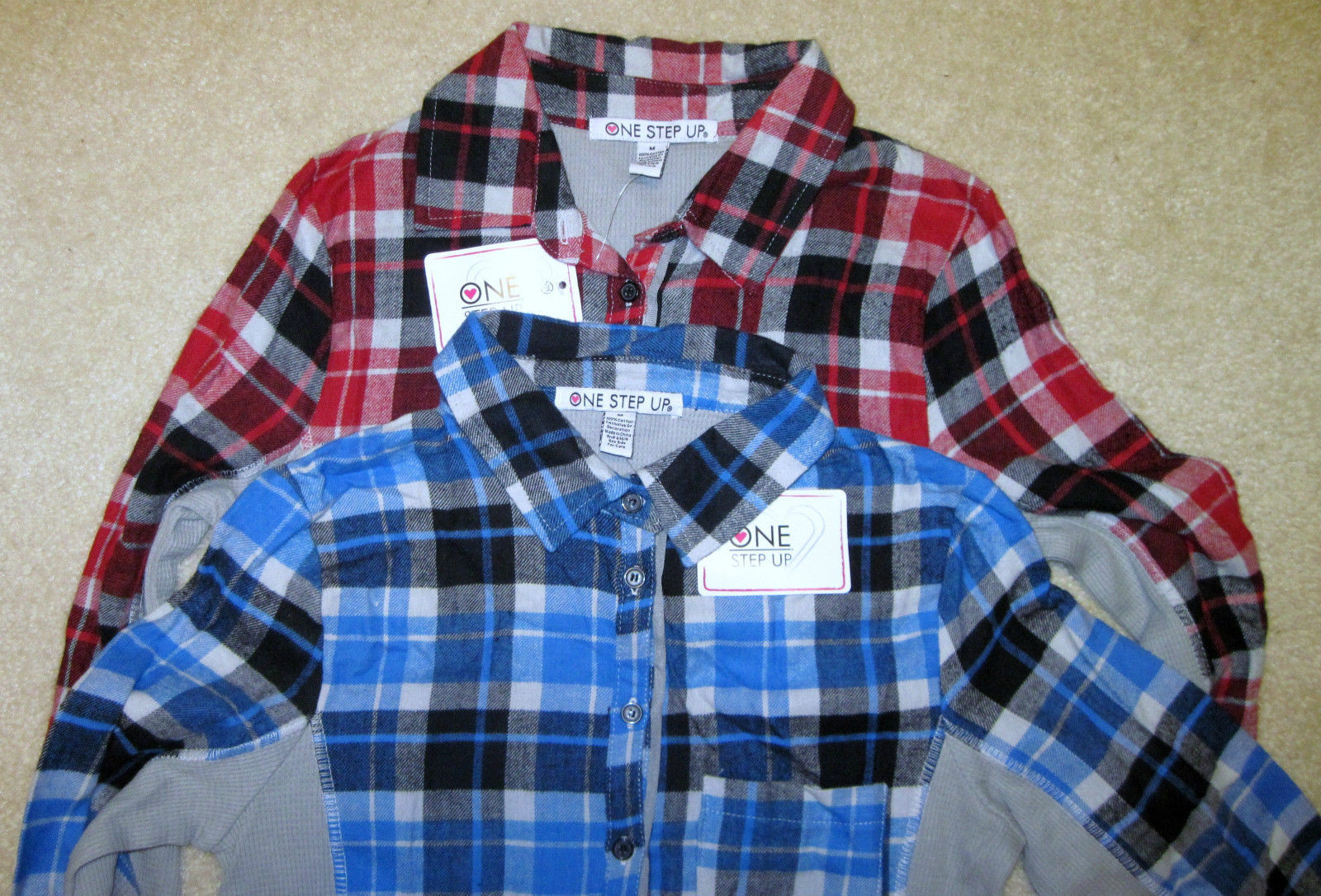 NWT ONE STEP UP Flannel Shirt Long Sleeve Plaid Red or Blue Junior Sizes