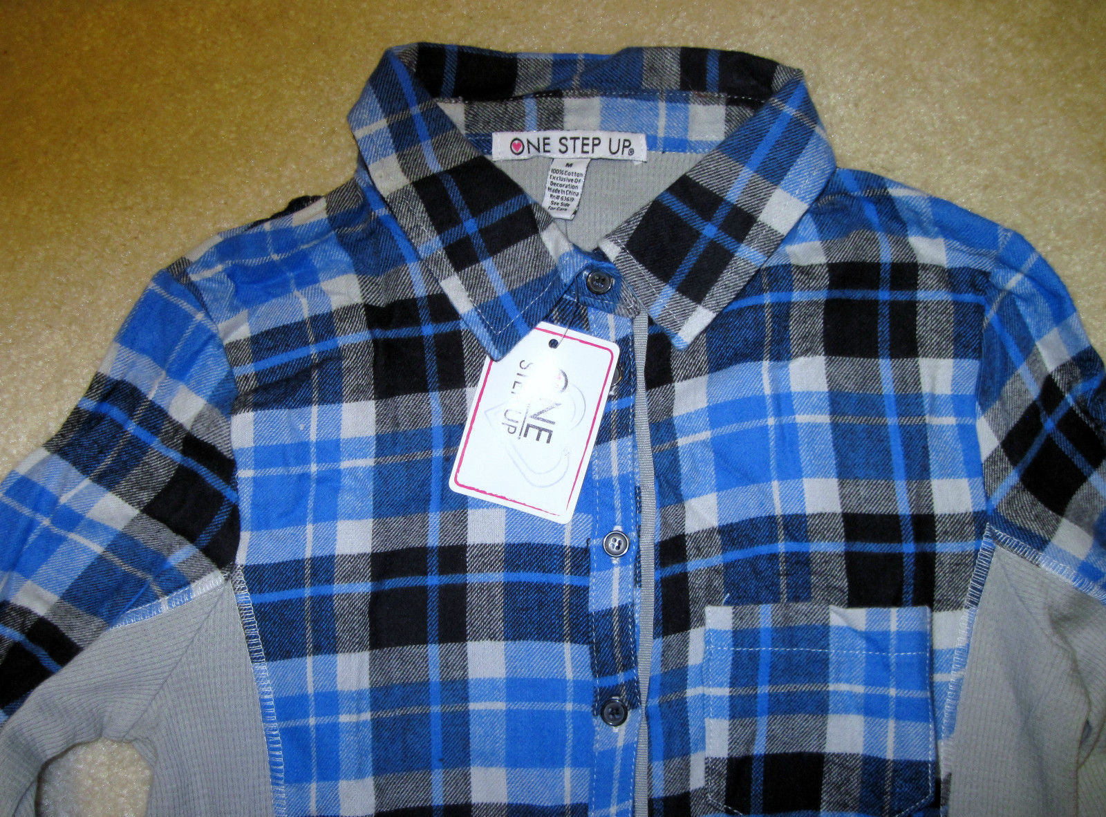 NWT ONE STEP UP Flannel Shirt Long Sleeve Plaid Red or Blue Junior Sizes image 4