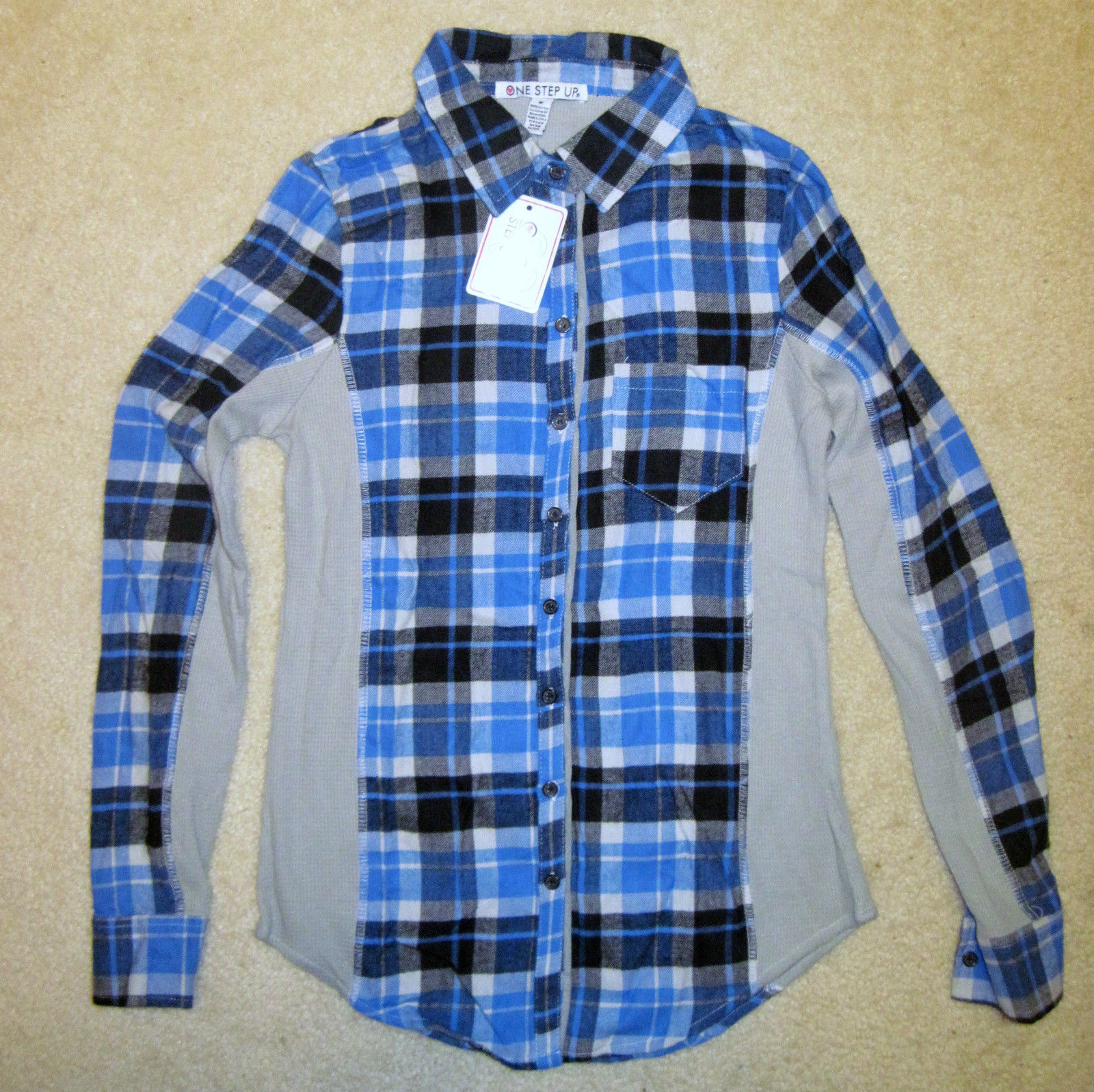 NWT ONE STEP UP Flannel Shirt Long Sleeve Plaid Red or Blue Junior Sizes image 2