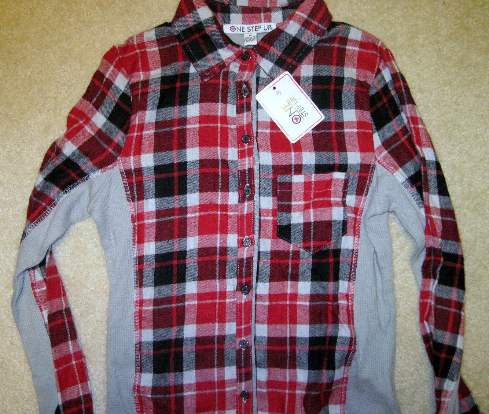 NWT ONE STEP UP Flannel Shirt Long Sleeve Plaid Red or Blue Junior Sizes image 7