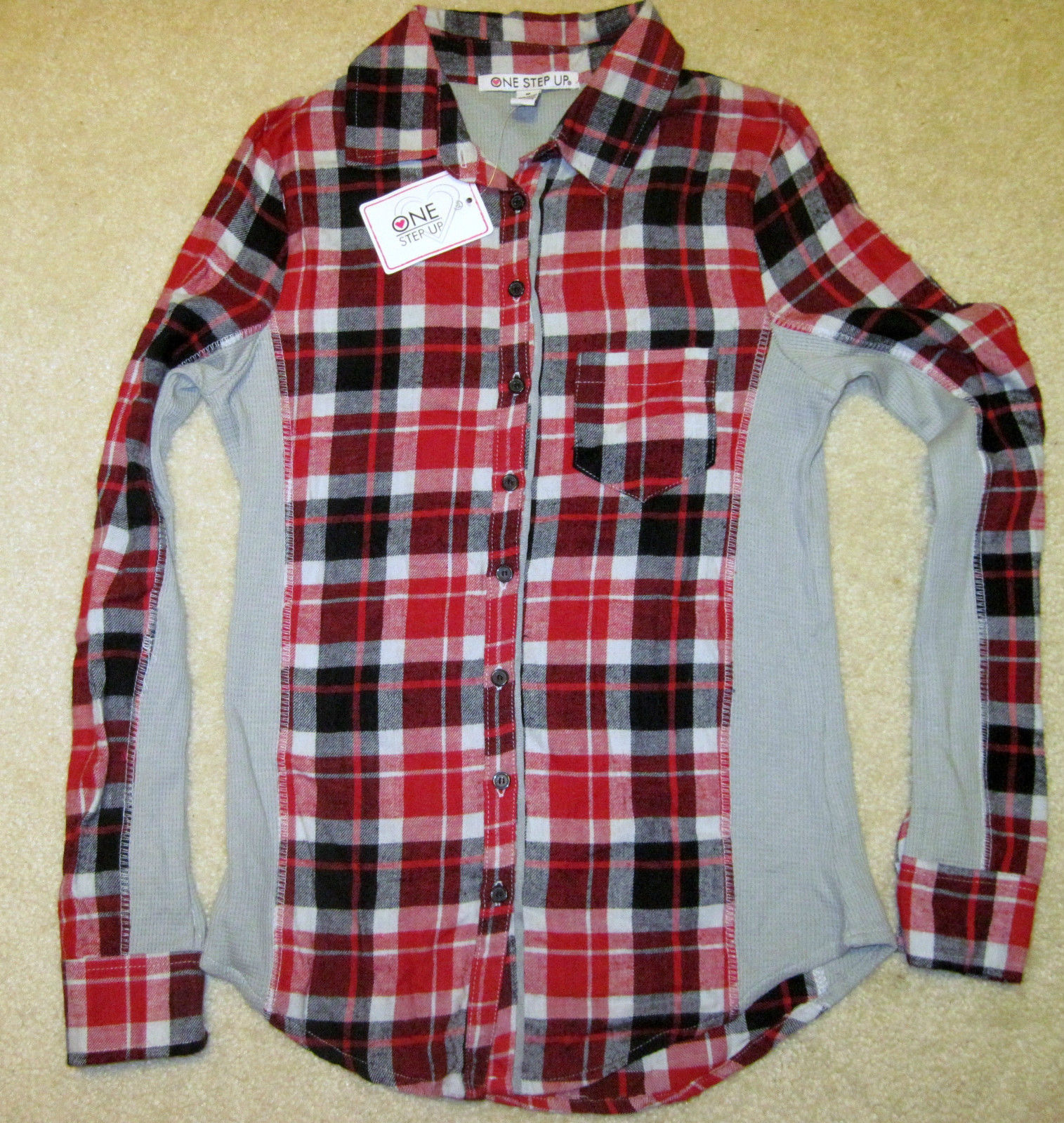 NWT ONE STEP UP Flannel Shirt Long Sleeve Plaid Red or Blue Junior Sizes image 6