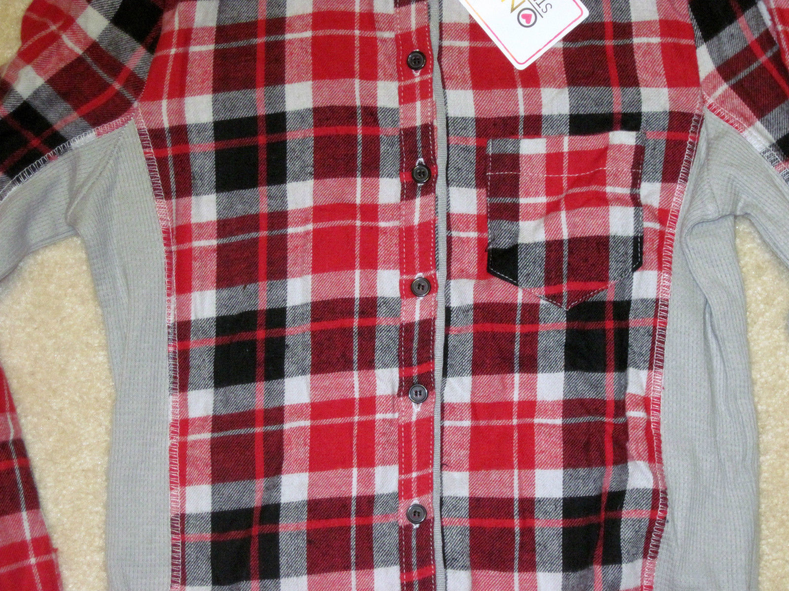NWT ONE STEP UP Flannel Shirt Long Sleeve Plaid Red or Blue Junior Sizes image 8