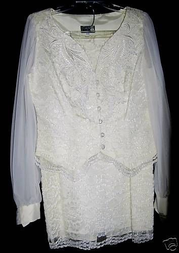 NWT CACHET by Bari Protas ivory lace jacket skirt suit wedding portrait M 5 6